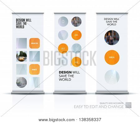 Vector set of modern Roll Up Banner Stand Design with rounds circles for business technology leaflet layout with polygonal effect. Corporate vector vertical flyer.