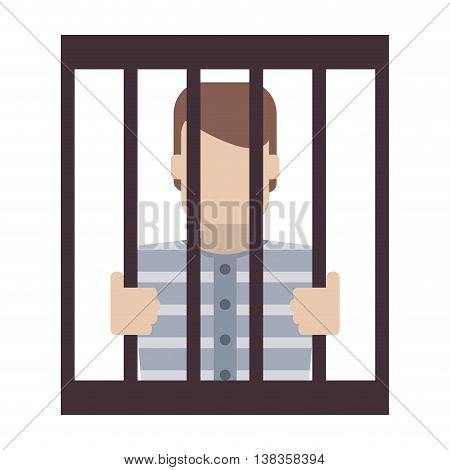 flat design jail inmate behind bars icon vector illustration