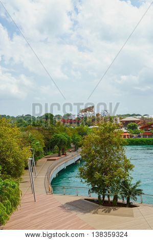 Sentosa Boardwalk Leading To Sentosa Island In Singapore