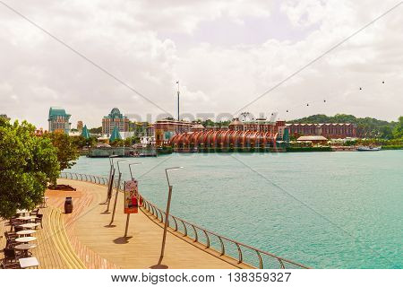 Sentosa Boardwalk Leads To Sentosa Island In Singapore