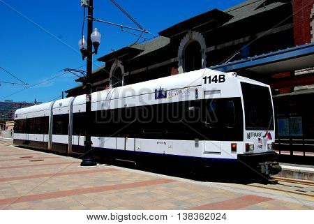 Newark New Jersey - July 5 2009: Light rail train at the NJ Transit Broad Street Station terminus