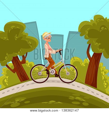 Beautiful senior woman in straw hat riding bicycle in the park, cartoon style vector illustration. Grandmother riding a bike, happy elder woman goes in for outdoor sport, healthy lifestyle in the city