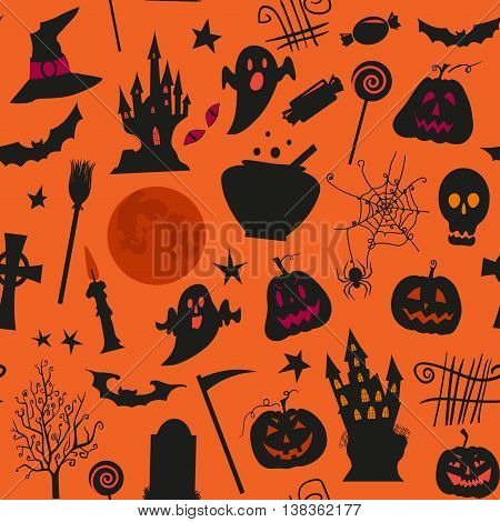 Seamless halloween pattern with castles candles pumpkins jack o lantern and other simbols. Use for web page backgrounds greeting cards invitations surface textures.