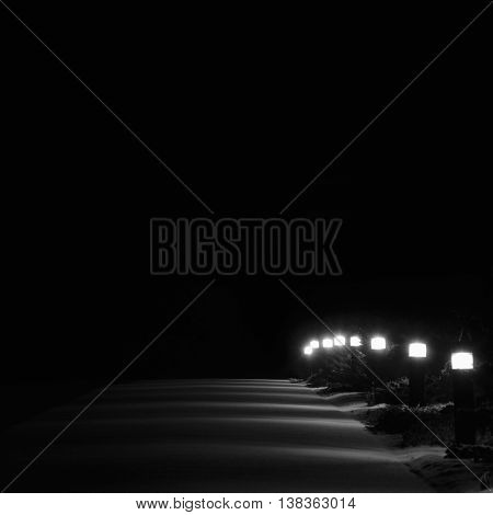 Illuminated Snowy Park Footpath Lights Bright Lit White Outdoor Pathway Pavement Lanterns Lampposts Row Perspective At Night First Winter Snow on Evergreen Shrubs Brightly Glowing Walk Lamps Loneliness Concept Solitude Metaphor Vertical Deserted Night Sce