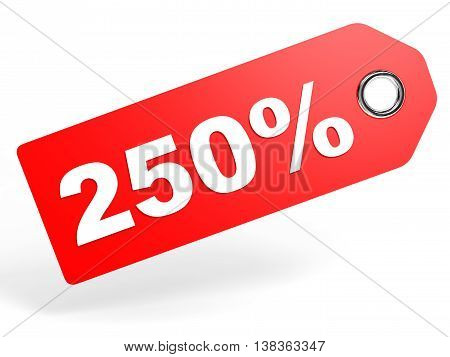 250 Percent Red Discount Tag On White Background.