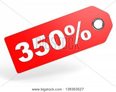 350 Percent Red Discount Tag On White Background.