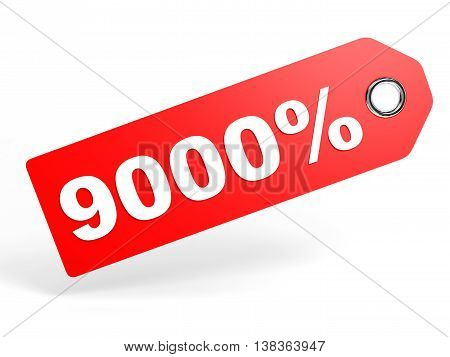 9000 Percent Red Discount Tag On White Background.