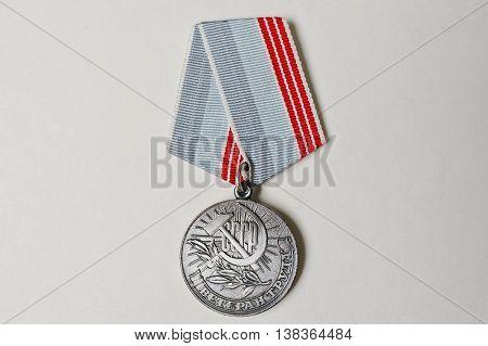 Soviet Medal For Labor Veteran On White Background