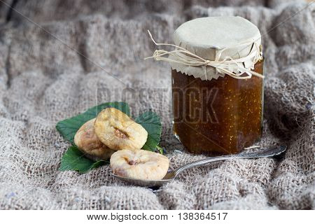 fig jam and figs in a glas jar