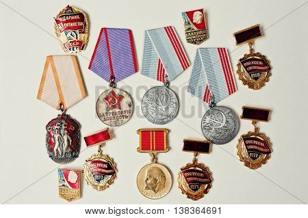 Set Of Different Soviet Medals On White Background