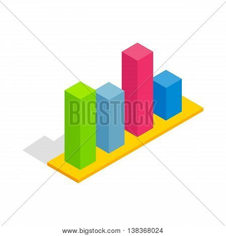Chart in columns icon in isometric 3d style isolated on white background. Compute symbol