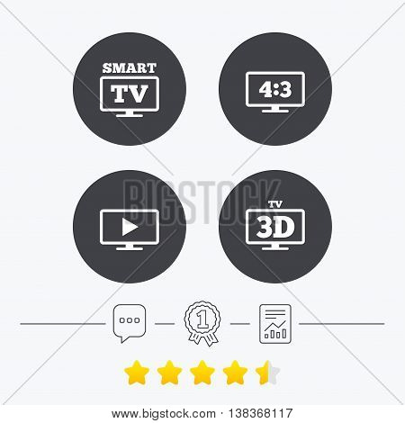 Smart TV mode icon. Aspect ratio 4:3 widescreen symbol. 3D Television sign. Chat, award medal and report linear icons. Star vote ranking. Vector