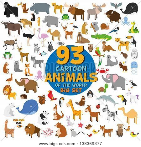 Big set of 93 cute cartoon animals of the world. Vector illustration isolated on white. Icon set.