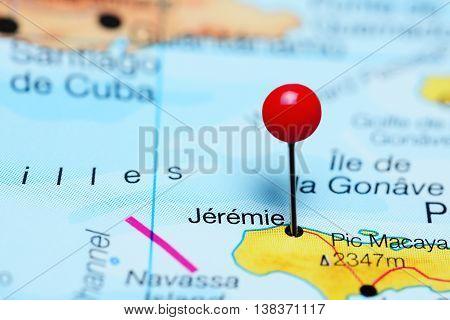 Jeremie pinned on a map of Haiti