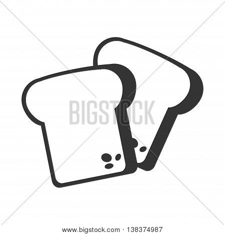 Bread Foodstuff isolated flat icon in black and white colors, vector illustration.