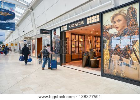NEW YORK - APRIL 06, 2016: inside JFK Airport. John F. Kennedy International Airport is a major international airport located in the Queens borough of New York City.