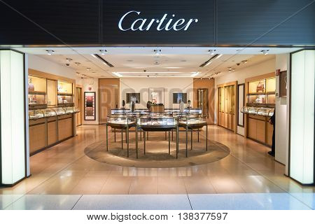 NEW YORK - APRIL 06, 2016: Cartier store in JFK Airport. Societe Cartier designs, manufactures, distributes and sells jewellery and watches. Founded in Paris, France in 1847