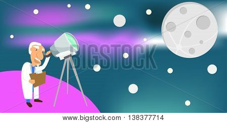 astronomer looking through a telescope at the full moon. astronomy concept vector illustration.
