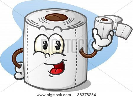 Happy Toilet Paper Cartoon Character Holding a Roll of Bathroom Tissue