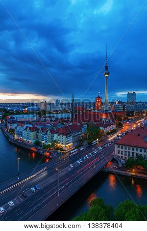 Aerial View Of Berlin, Germany, With Television Tower And Spree River