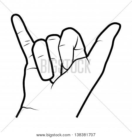 Hand symbolizing a gesture, isolated flat icon vector illustration.