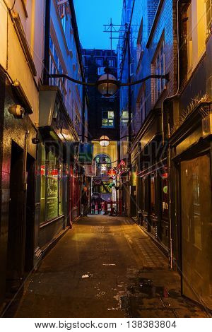 Dark Alley In Chinatown In London, Uk, At Night