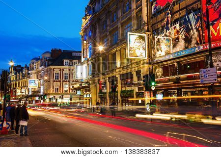 London UK - June 18 2016: Shaftesbury Avenue at night. It is running from Piccadilly Circus to New Oxford Street and is generally considered the heart of Londons West End theatre district