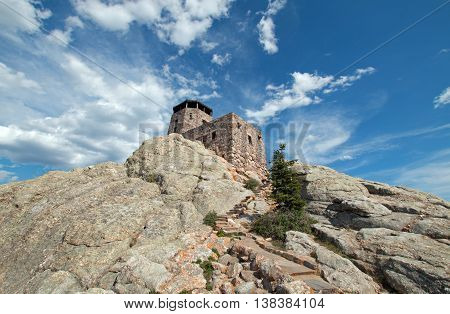 Harney Peak Fire Lookout Tower and stone stairway in Custer State Park in the Black Hills of South Dakota USA