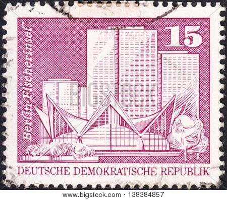 MOSCOW RUSSIA - JANUARY 2016: a post stamp printed in DDR shows Fisherman's Island view the series