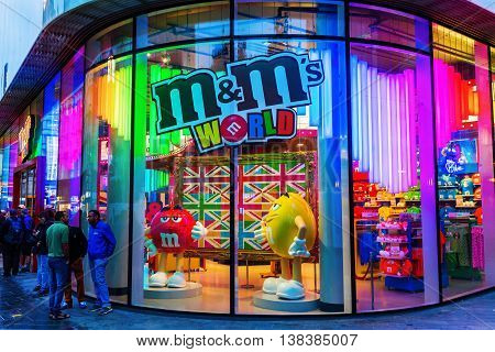 M&m Store In London, Uk, At Night