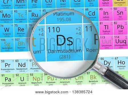 Darmstadtium Symbol - Ds. Element Of The Periodic Table Zoomed W