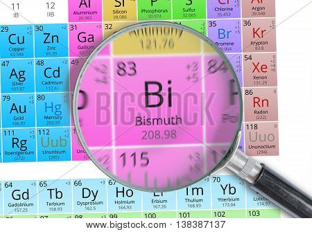 Bismuth - Element Of Mendeleev Periodic Table Magnified With Mag