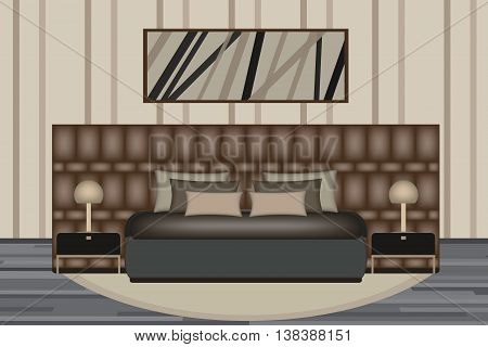 Bedroom Illustration. Elevation Room with Luxury Bed, Side Table and Lamp. Furniture Set for Your Interior Design.