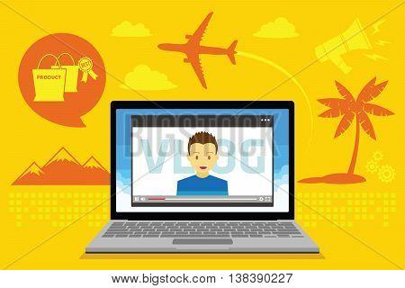 vlog video blogging vector illustration concept design