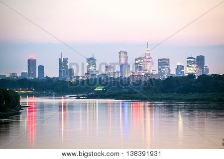 Warsaw City Center And Wisla River, Poland