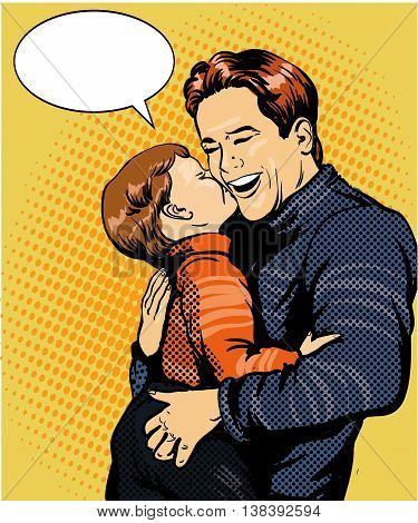 Happy family pop art vector illustration. Father with son retro style concept.