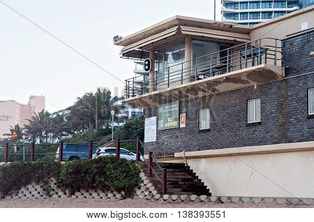 DURBAN SOUTH AFRICA - JULY 09 2016: The Grannies Pool lifesaver's station on the Umhlanga Rocks beach