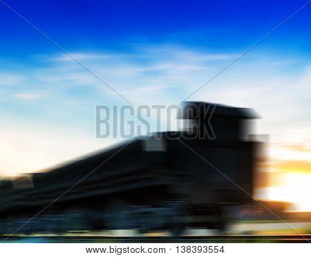 Horizontal vivid cyberpunk train motion abstraction background backdrop