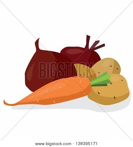 Vegetables: beets potatoes carrots. For your convenience each significant element is in a separate layer