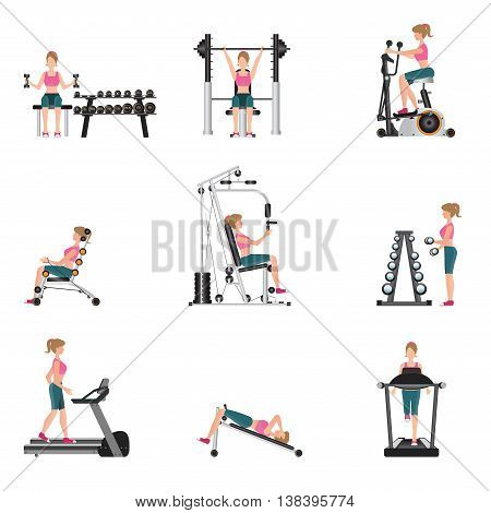 Fitness cardio exercise and equipment with young women isolated on white background gymnasium sport fitness athletics healthy lifestylecharacter Vector illustration.