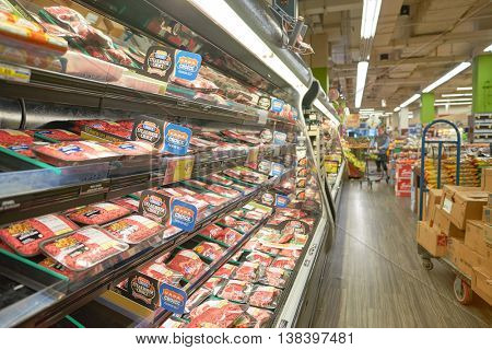 CHICAGO, IL - CIRCA APRIL, 2016: inside Jewel-Osco store. Jewel-Osco is a supermarket chain headquartered in Itasca, Illinois, a Chicago suburb.