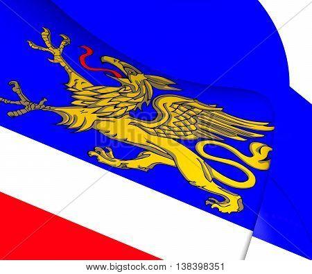 3D Flag Of Rostock, Germany. 3D Illustration.