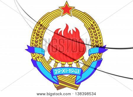 Yugoslavia Coat of Arms. 3D Illustration. Close Up.