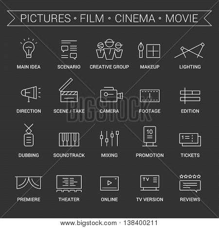 Icons of movie, film, cinema, pictures area. Linear, white.