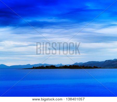Horizontal vivid Norway island landscape background backdrop