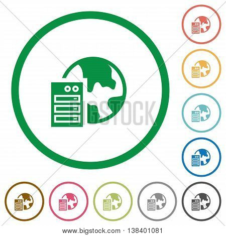Set of Web hosting color round outlined flat icons on white background