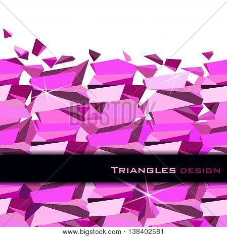 Pink abstract geometric triangles with black card on white background. Horizontal rose ruby diamond or purple crystal seamless border for girl party banner design. Vector illustration - stock vector.