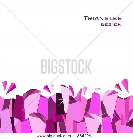 Horizontal seamless bottom border with ruby diamond or purple crystal triangles. Pink abstract geometric frame on white background. Design for girl party banner. Vector illustration - stock vector.