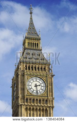 Big Ben Clock Tower Against Blue S ky