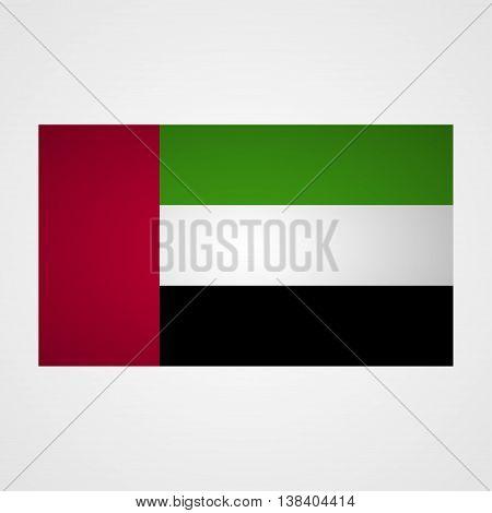 UAE flag on a gray background. Vector illustration